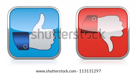 3D illustration of thumb up and down icons isolated on white background