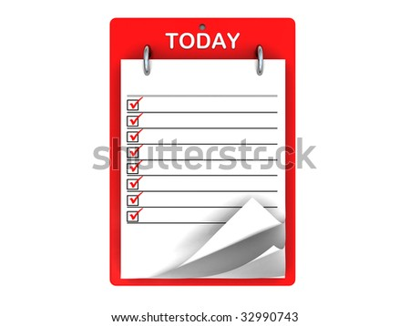 3d illustration of today tasklist with red ticks