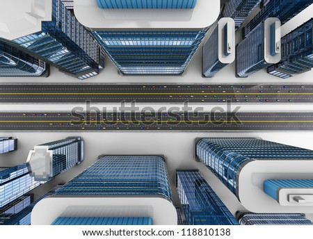 3d illustration of top view of city with roads and cars traffic