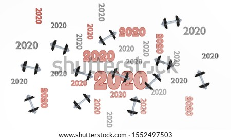 3D illustration of Top View of Several Hand Dumbbell 2020 Designs with Some Dumbbells on a White Background