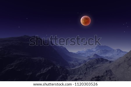 3D illustration of Total Lunar Eclipse 2018 over the Mountains