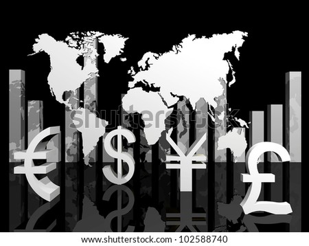 3d illustration of trade currencies around the world