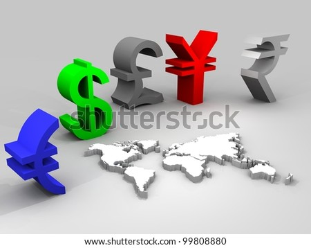 3d illustration of trade currencies worldwide