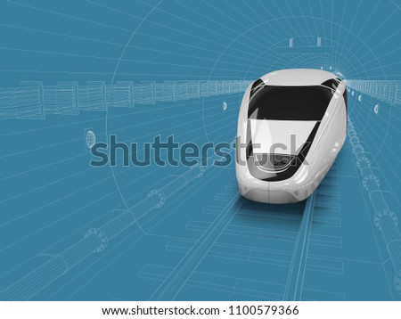 3d illustration of train enters in the tunnel, blue and white drawing