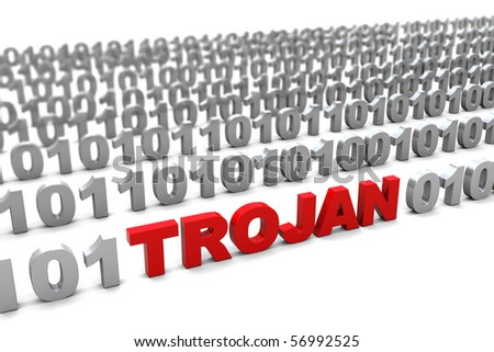 3d illustration of trojan in binary code symbol