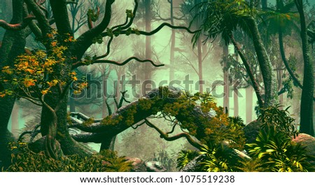3D Illustration of tropical forest landscape in a very dense atmosphere
