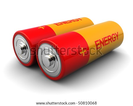 3d illustration of two batteries with 'energy' text on it