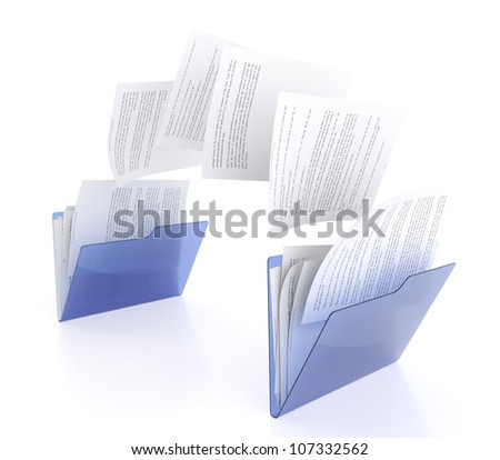 3D illustration of two blue folder icons and files transfer