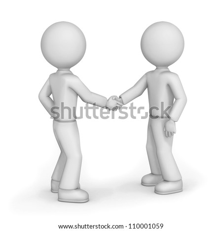 3d illustration of two cartoon friends with blank faces shaking hands, white background.