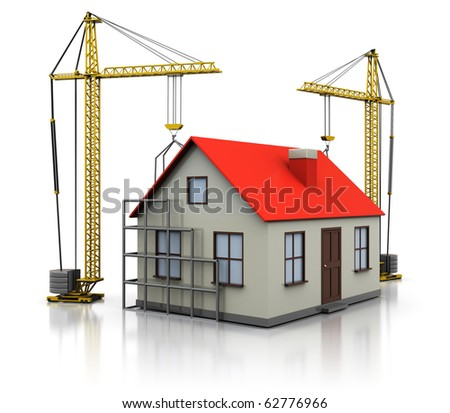 3d illustration of two cranes building house, over white background
