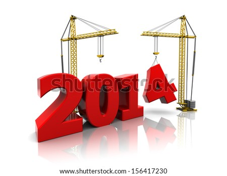 3d illustration of two cranes building new year 2014 sign