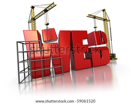 3d illustration of two cranes building web sign, over white background