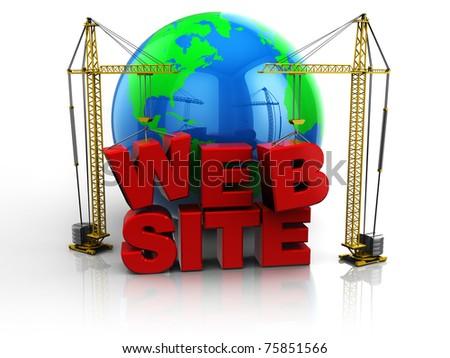 3d illustration of two cranes building 'web site' text, web design concept