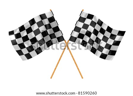 3d illustration of two crossed start flags, isolated over white