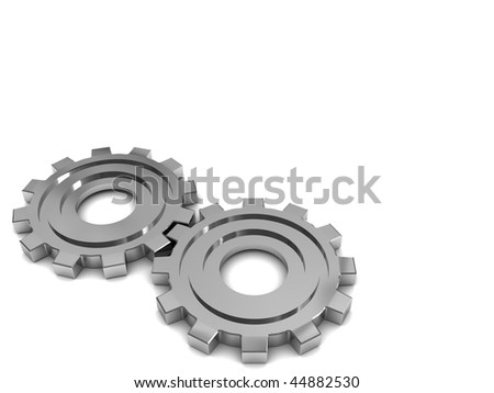 3d illustration of two gear wheels at left side of white background