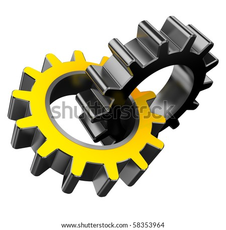 3d illustration of two gear wheels isolated over white background