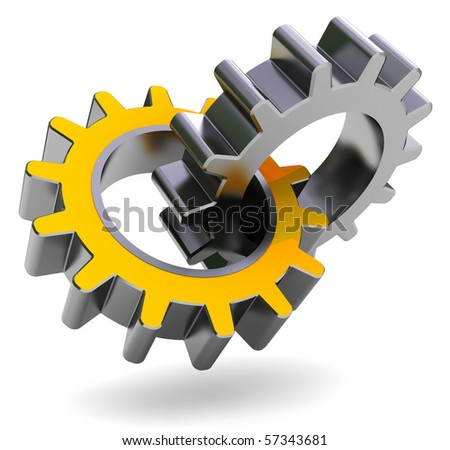 3d illustration of two gear wheels over white background