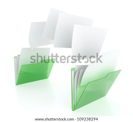 3D illustration of two green folder icons and files transfer