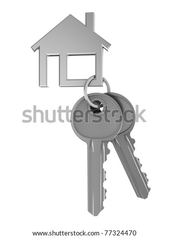 3d illustration of two keys and house shaped keyholder