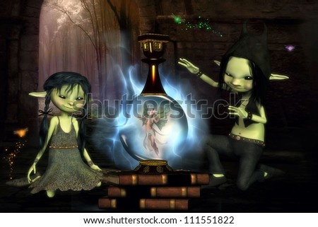 3D illustration of two mischievous sprites who have captured a beautiful fairy and placed her in a large glass container.  Misty forest background and tiny magic bugs are flying around.