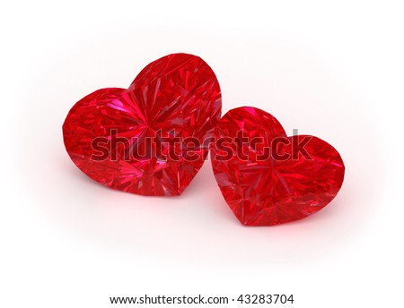 3d illustration of two ruby hearts on white background.