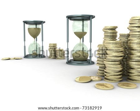 3D illustration of two sand clocks with stack of coins