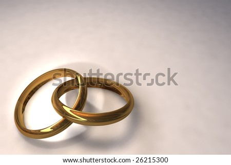 3d illustration of two wedding rings over white background