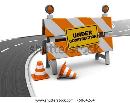 3d illustration of under construction barrier and asphalt road