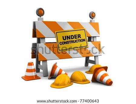 3d illustration of under construction barrier over white background