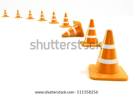 3d illustration of under construction cone in line