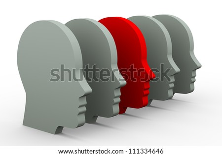 3d illustration of unique human head