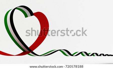 3D illustration of United Arab Emirates Flag Inspired Heart Ribbon for The National Day Celebrations
