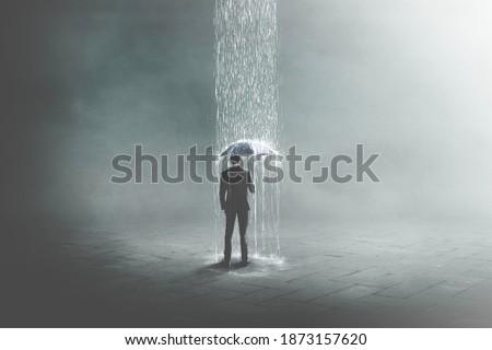 3D Illustration of unlucky business man under rain, surreal concept Foto stock ©