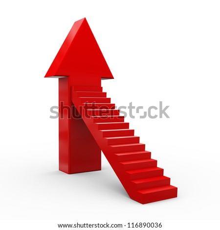 3d illustration of upward stair arrow.