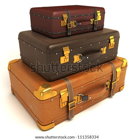 3d illustration of vintage leather suitcase piled up