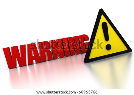 3d illustration of warning sign with exclamation mark triangle - stock photo
