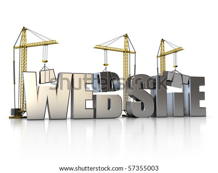 3d illustration of website sign with building cranes