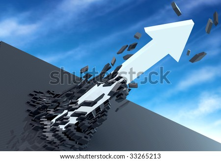 3D illustration of white arrow breaking through a dark brick wall, with a blue sky background.