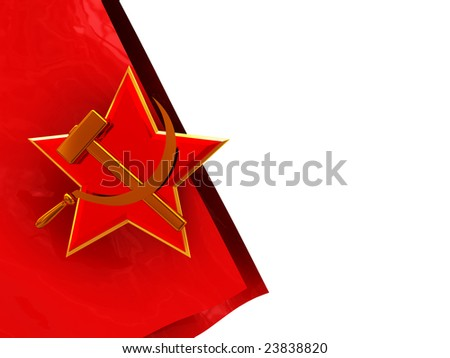 3d illustration of white background and soviet flag and symbol on left side
