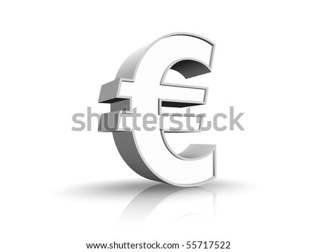 3D illustration of white euro sign, isolated on white background