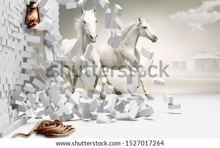 3D Illustration of White Horse coming out from broken bricks - 3d wallpaper