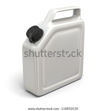 3D illustration of white jerry can isolated on white background.