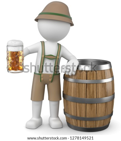 3D illustration of white male with beer on tap