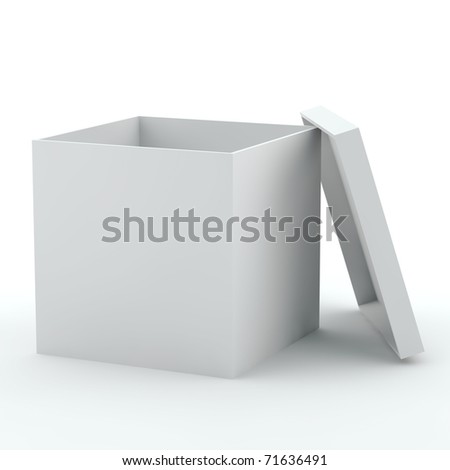 3D illustration of white opened empty box kind with a side