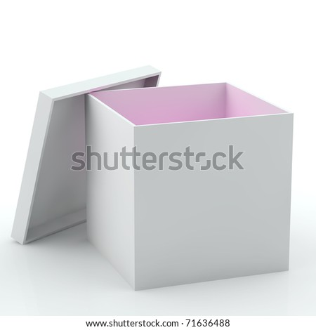 3D illustration of white opened empty box with pink light