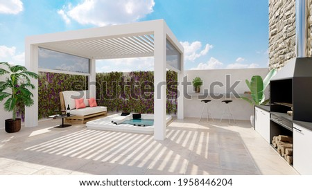 3D illustration of white outdoor bioclimatic pergola on urban patio with whirlpool and barbecue. White pallet couch next to hot whirlpool bath. Stock photo ©