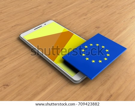 3d illustration of white phone over wooden background with EU flag #709423882