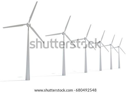 3d illustration of windmills on white background