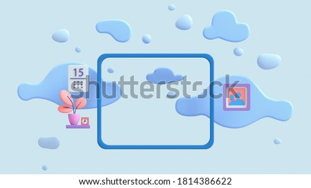 3d illustration of window with view of blue sky, fluffy clouds and flying bubbles. Modern room with shelf, coral color potted plant, calendar, clock, photo frame floating in the air. Minimal art style