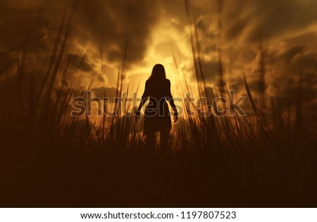 3d illustration of woman lost in the woods